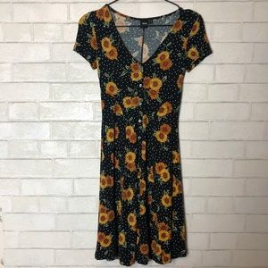 ASOS Sunflower Button Down Dress 0 Long Tall
